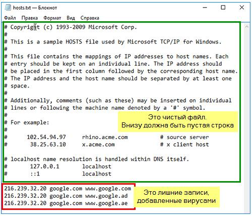 файл hosts чистка